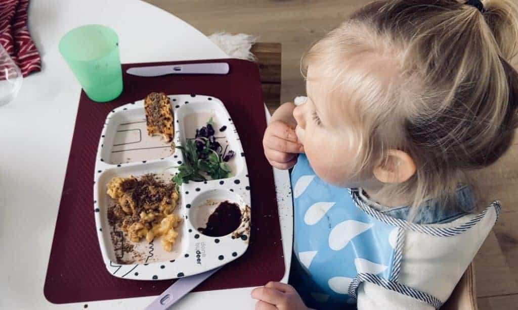 Vegan toddler eating meal - Veggies & More