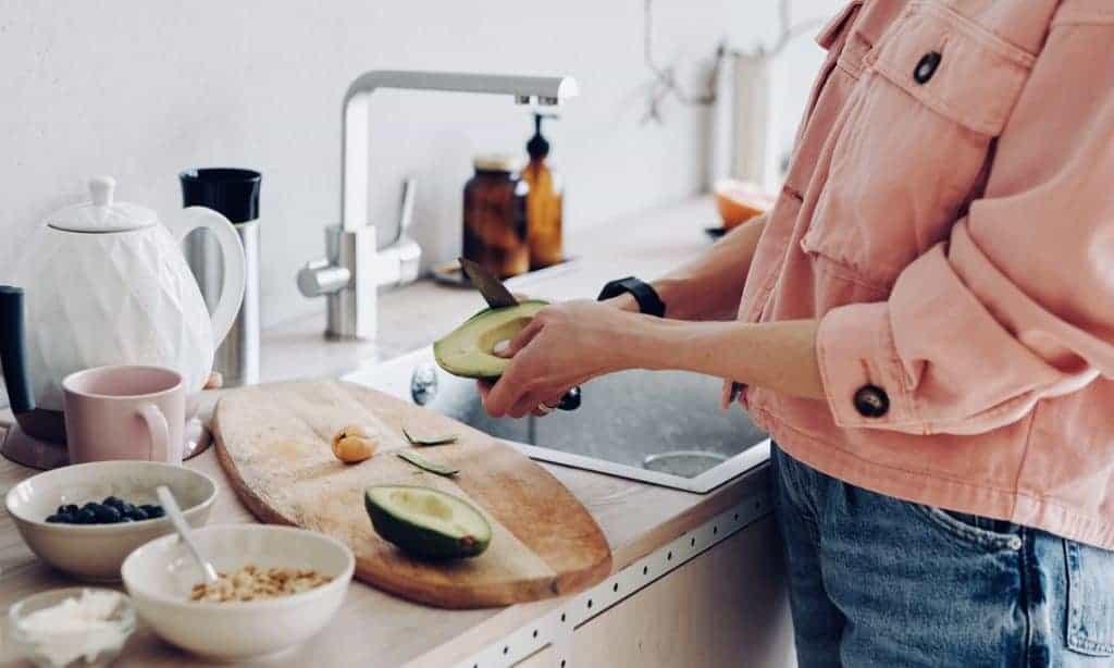 Woman preparing vegan food
