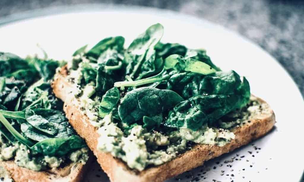 Iron-rich spinach sandwich