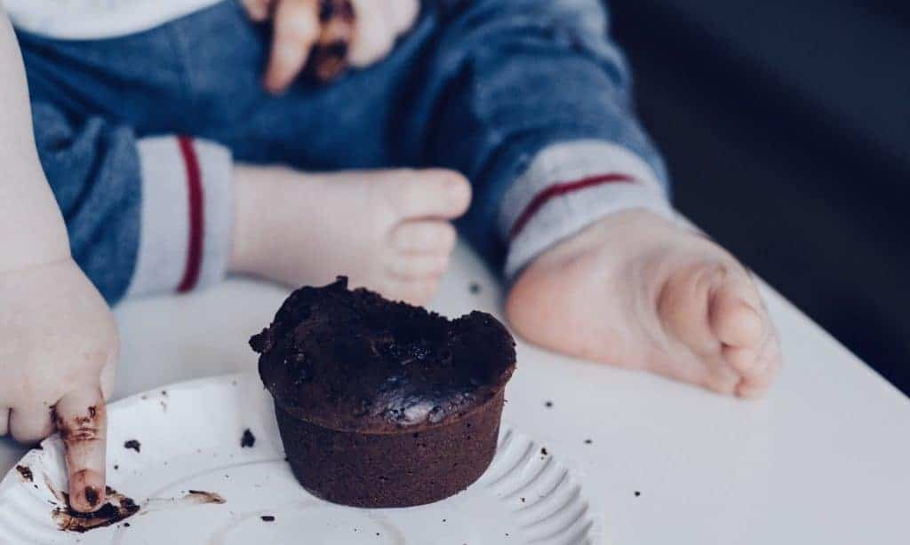 Picky eater eating cupcake
