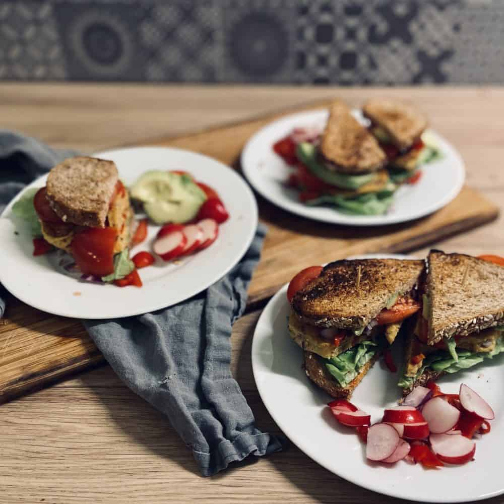 High protein vegan sandwich